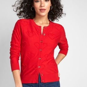 ModCloth Embroidered Cardigan Red Hearts
